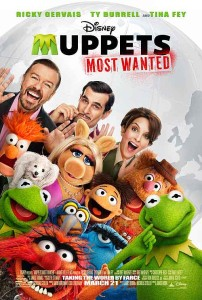 Muppets Most Wanted and and Ricky Gervais and Ty Burrell and Tina Fey and Christoph Waltz and Tom Hiddleston and Debby Ryan and Ray Liotta and Danny Trejo and Usher Raymond, Sean Combs and Celine Dion and Lady Gaga.